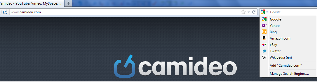 Add Camideo Opensearch for Firefox